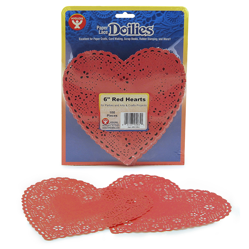 (4 Pk) Doilies 6 Red Hearts100 Per Pk