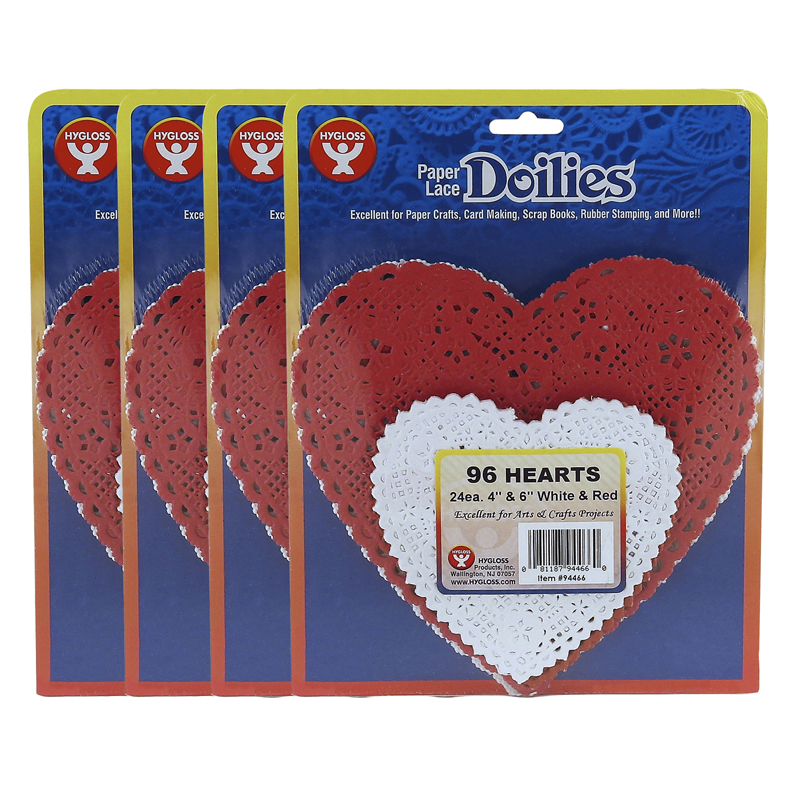 (4 Pk) Doilies White & Red Hearts24 Each 4in 6in
