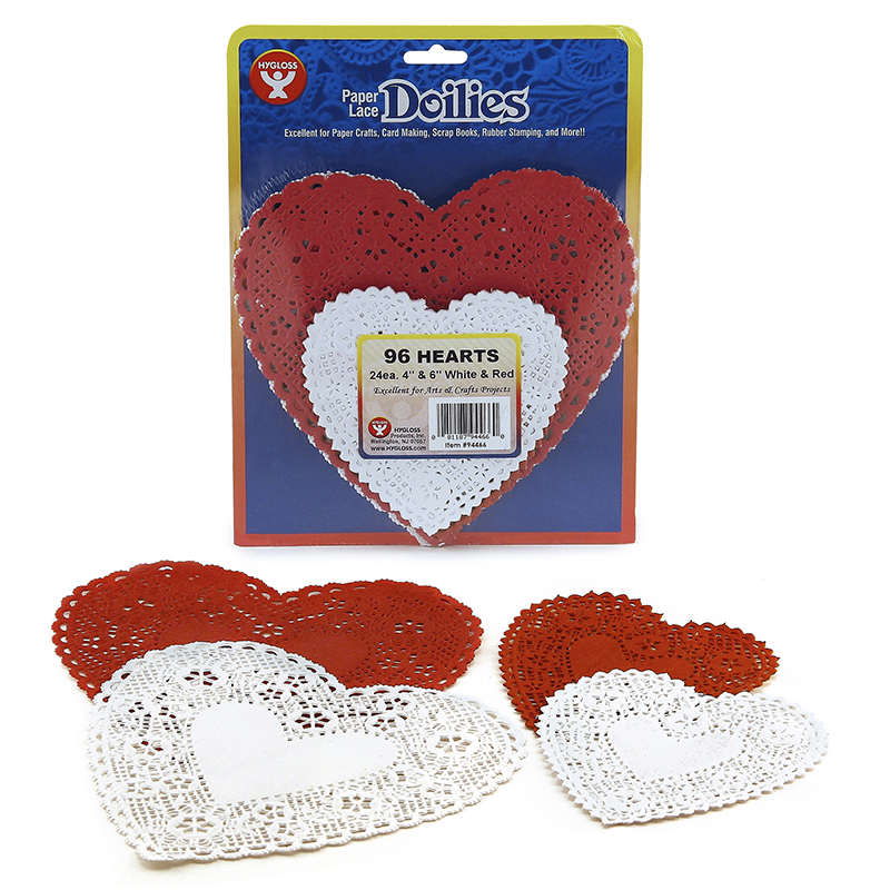Doilies White & Red Hearts 24 Each4in 6in
