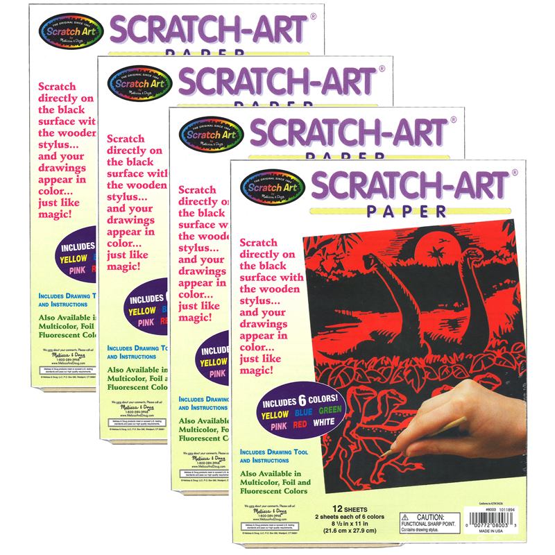 (4 Ea) Scratch Art Solid Colorspaper 12sht Per Pk