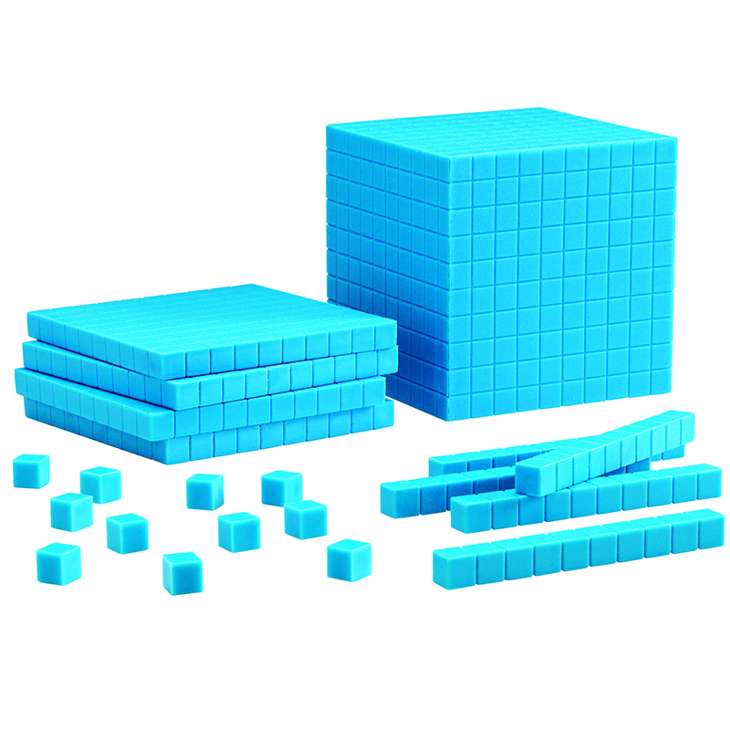 Base Ten Starter Set Plastic Blue100 Units 30 Rods 10 Flats 1 Cube