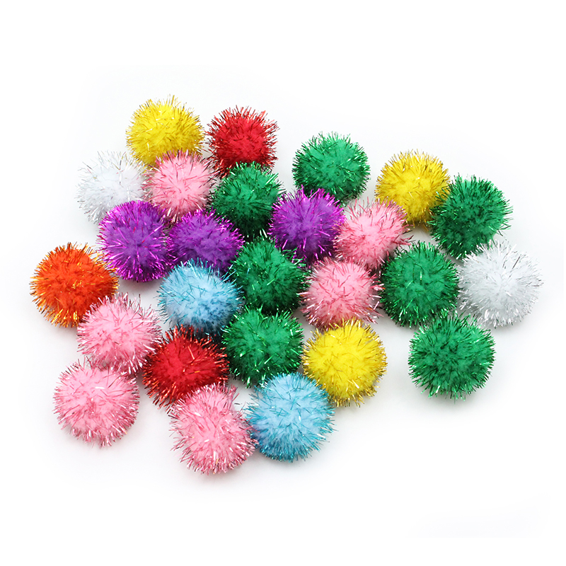 (2 Ea) 33mm Glitter Poms Assortment40 Pcs