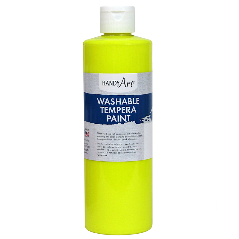 Fluorescent Ylw Tempera Paint 16ozhandy Art Washable