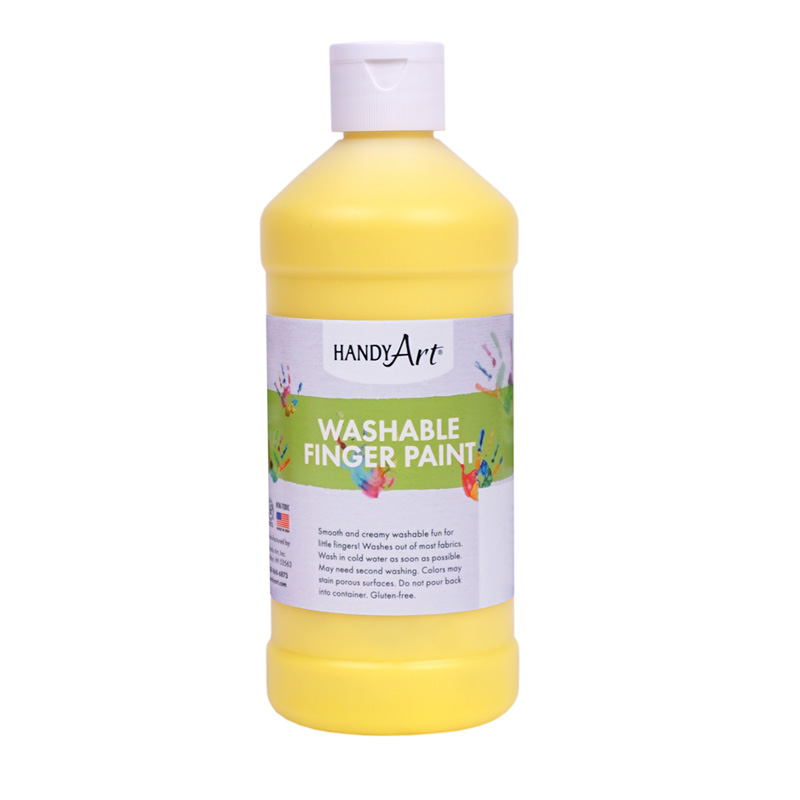 Handy Art Yellow 16oz Washablefinger Paint