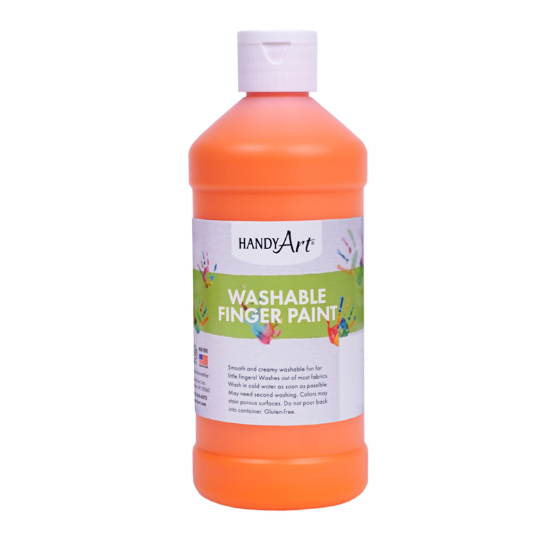 Handy Art Orange 16oz Washablefinger Paint