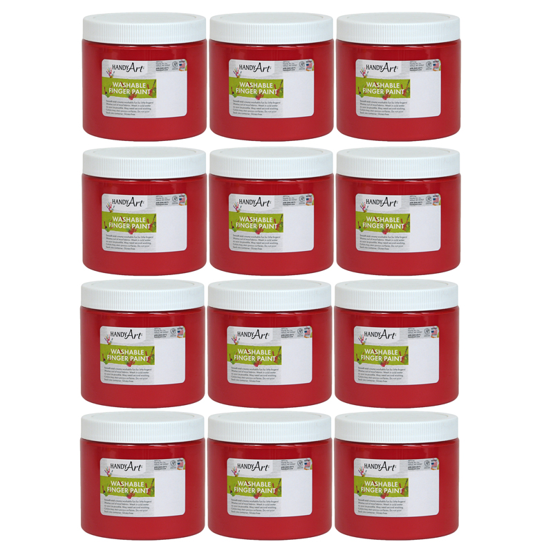 (12 Ea) Handy Art Red 16oz Washablefinger Paint