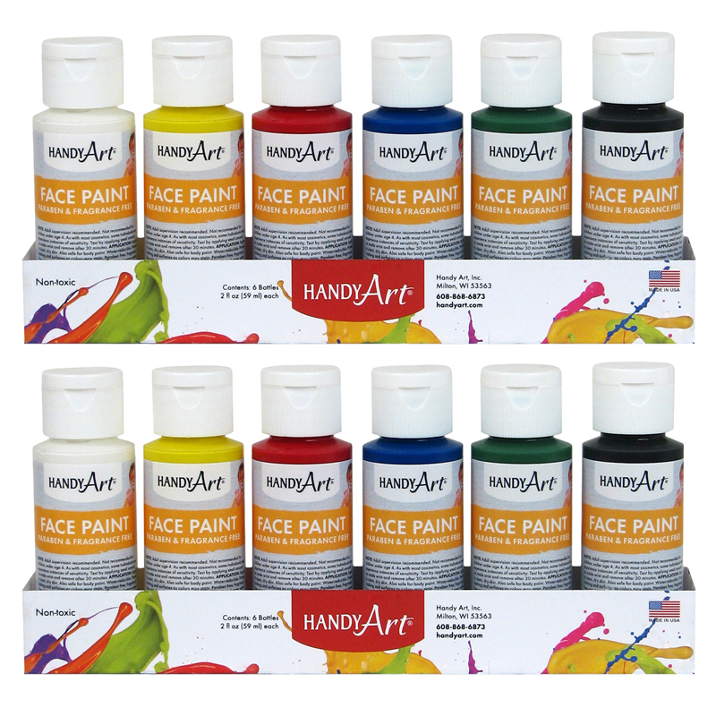 (2 St) Handy Art 2oz Washable Facepaint Kit Bottles 6 Per Pk