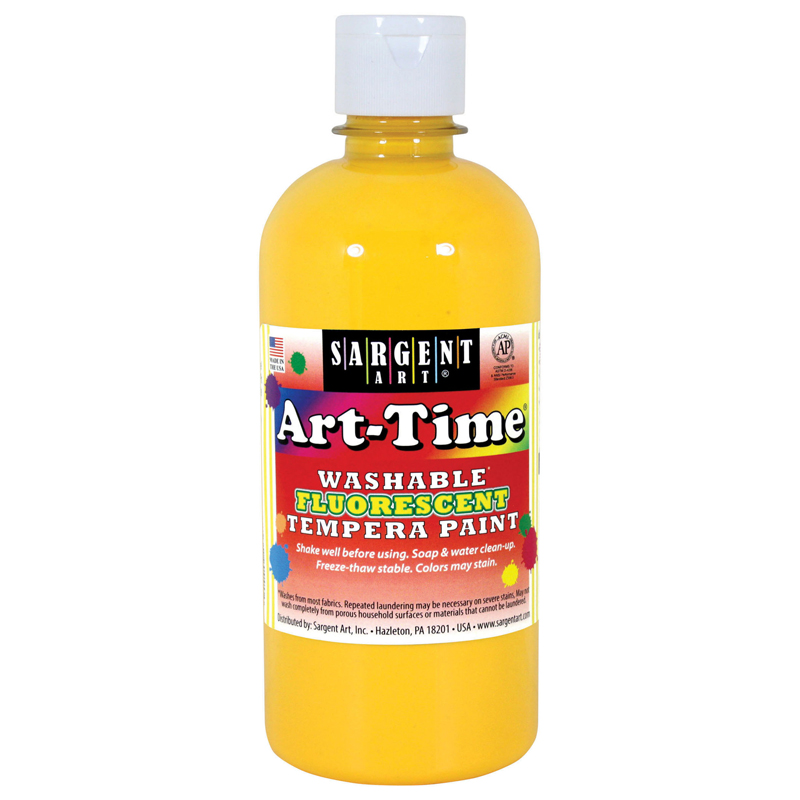 (6 Ea) Arttime Fluorescent Paint16 Oz Ylw Washable Tempera