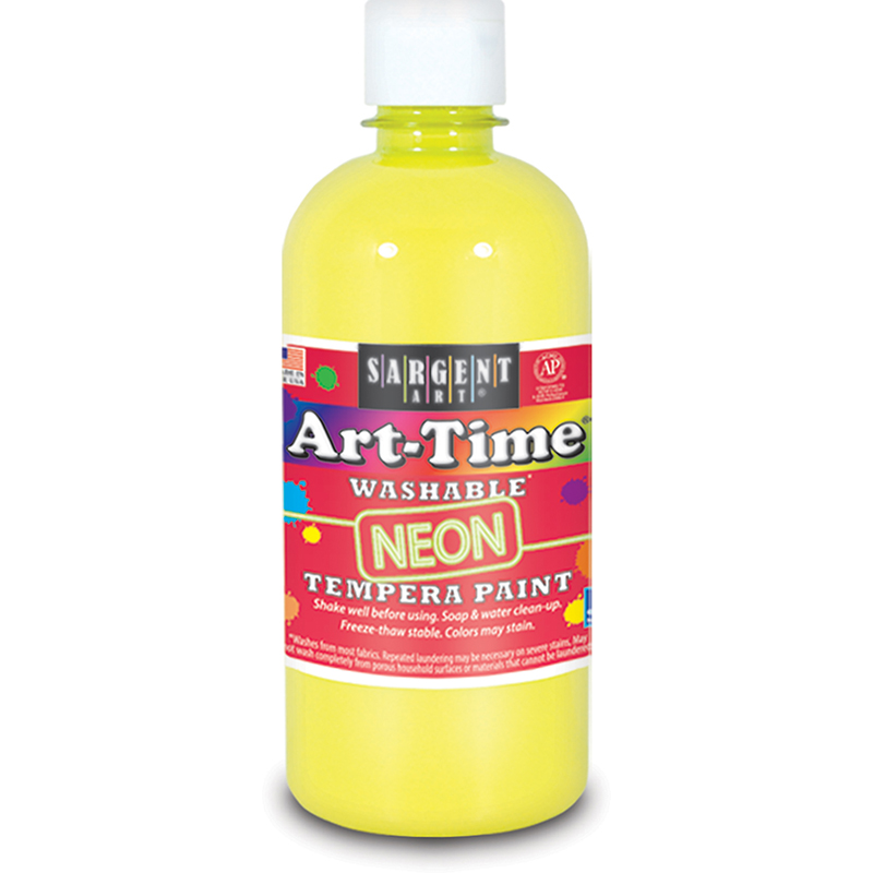 Arttime Fluorescent Paint 16 Oz Ylwwashable Tempera