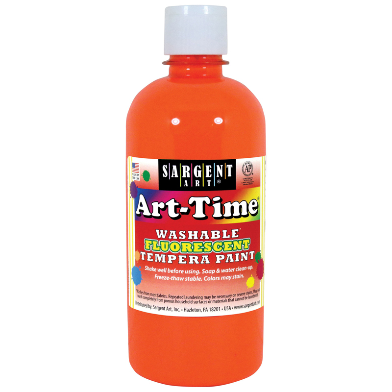 (6 Ea) Arttime Fluorescent Paint16 Oz Orange Washable Tempera