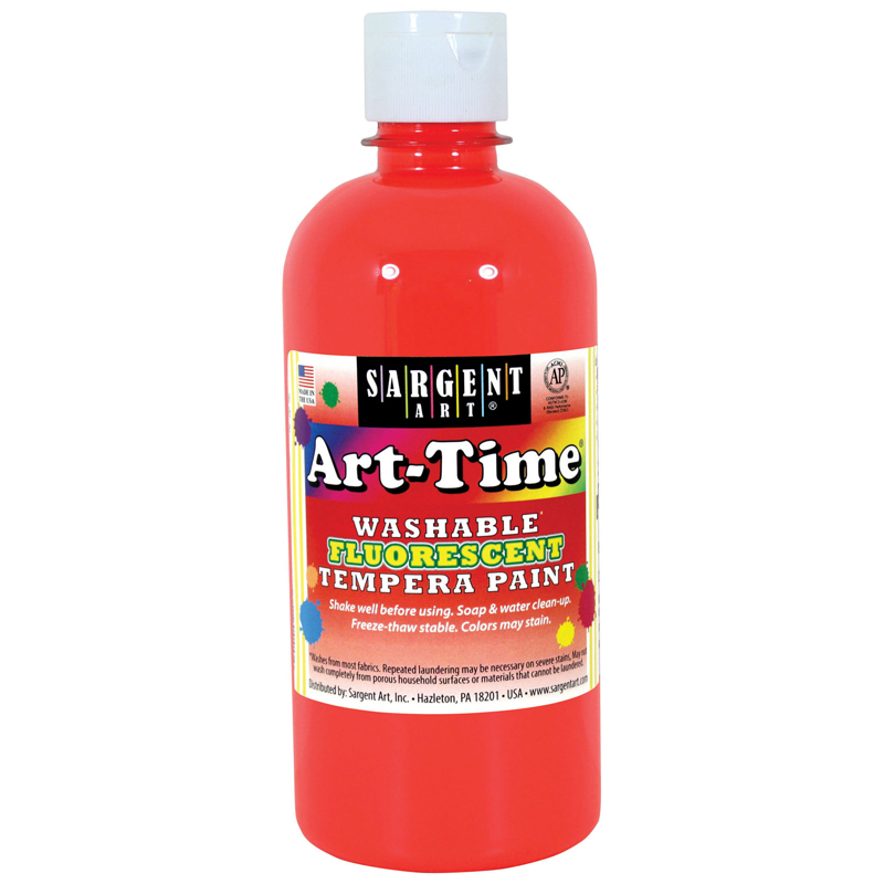 (6 Ea) Arttime Fluorescent Paint16 Oz Red Washable Tempera