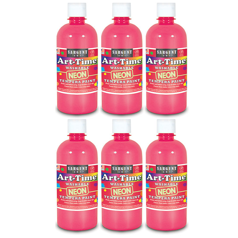 (6 Ea) Arttime Fluorescent Paint16 Oz Pnk Washable Tempera