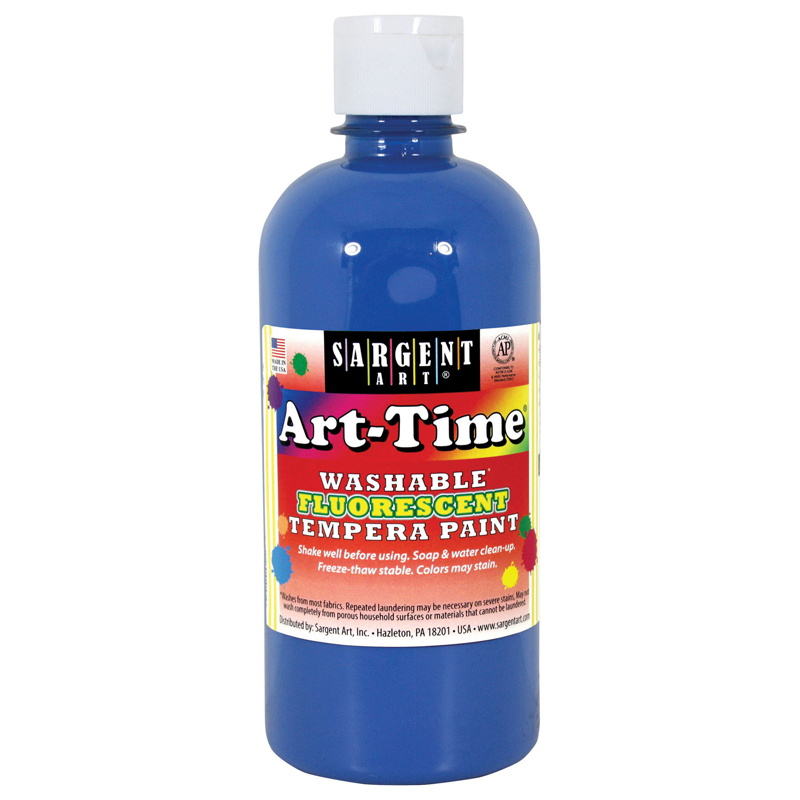 (6 Ea) Arttime Fluorescent Paint16 Oz Blue Washable Tempera