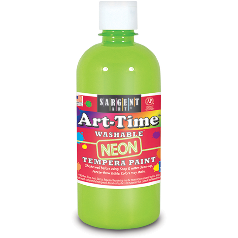 Arttime Fluorescent Paint 16oz Grnwashable Tempera