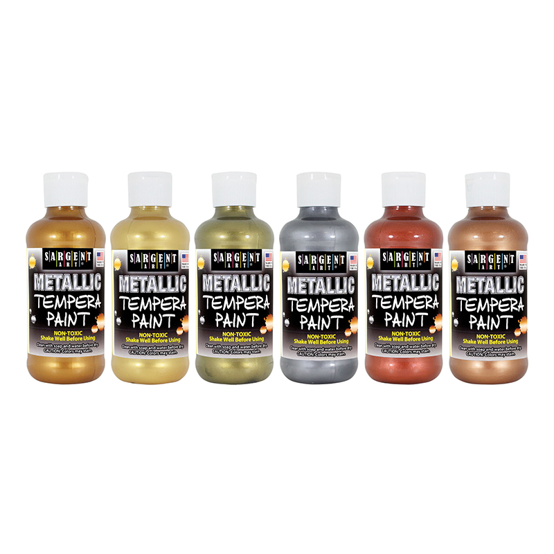 Metallic Tempera 8 Oz 6pk Asst