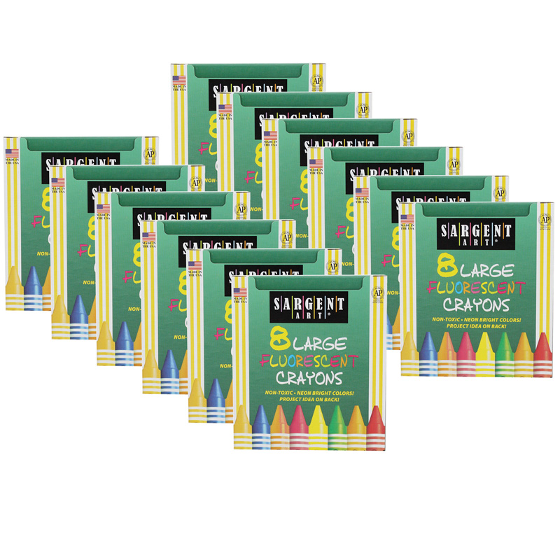 (12 Bx) Crayons Fluorescent Large 8colors Per Pack