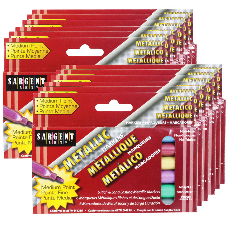 (12 Bx) Liquid Metals Metallicwashable Markers 6 Per Box