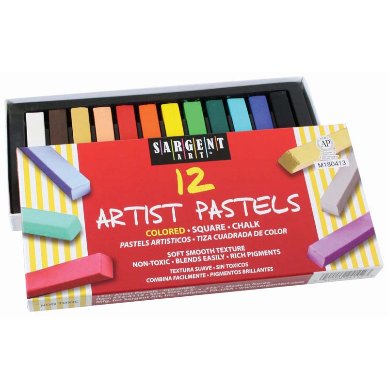 12ct Assorted Color Artists Chalkpastels Lift Lid Box