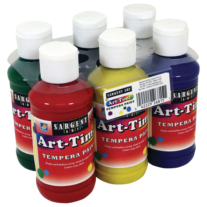 (2 St) Art Time 4oz Tempera 6stprimary Colors