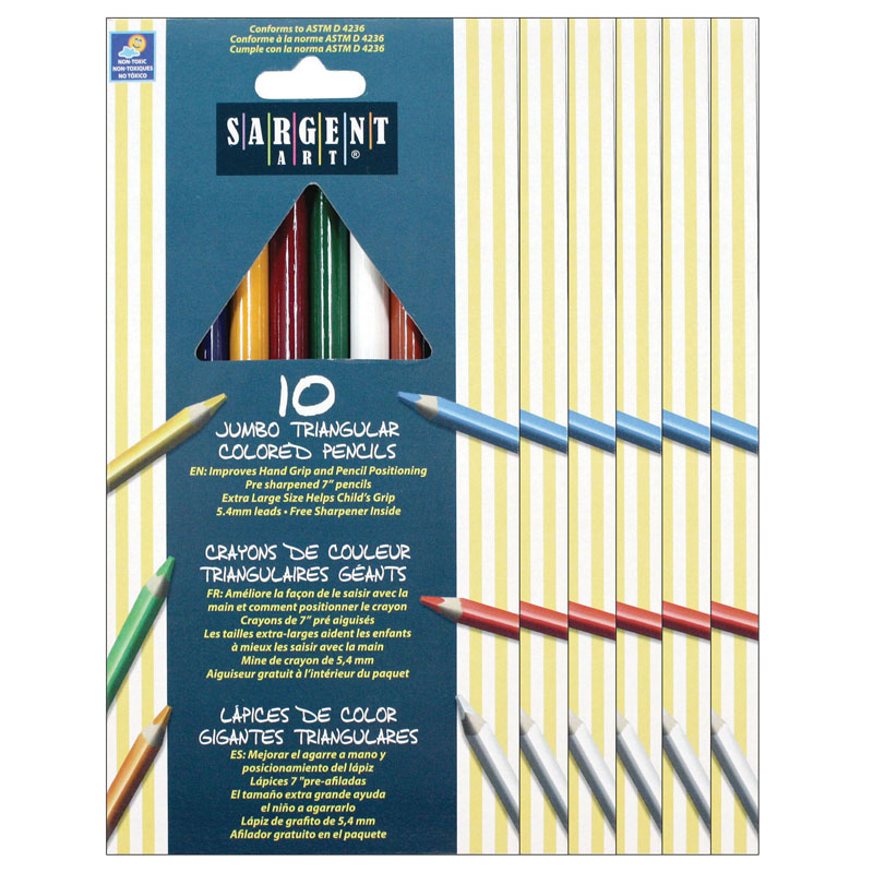 (6 Bx) Easy Grip Triangle Coloredpresharpened 10 Per Pk