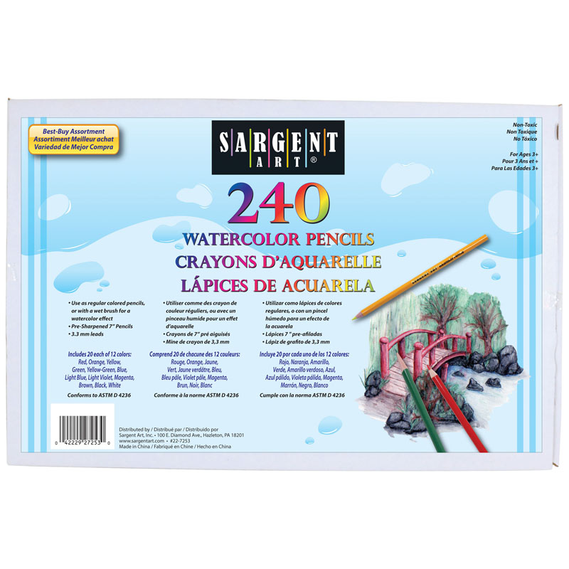 240 Ct Sargent Watercolor Pencilbest Buy Assortment 7 In
