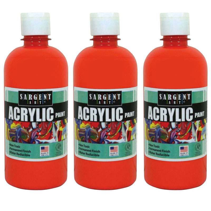 (3 Ea) 16oz Acrylic Paint Orange