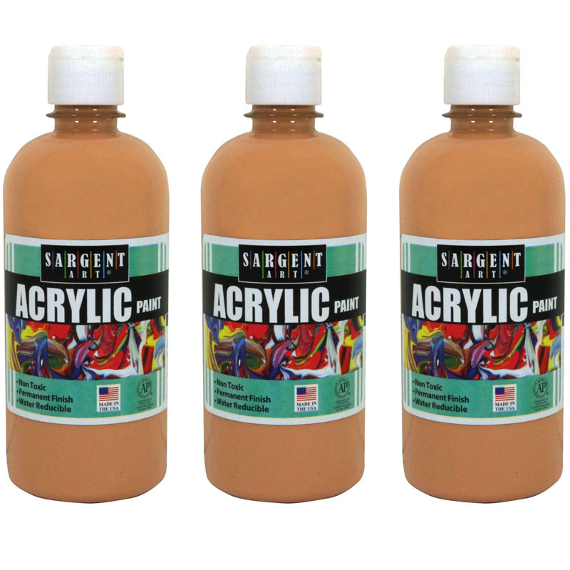 (3 Ea) 16oz Acrylic Paint Peach