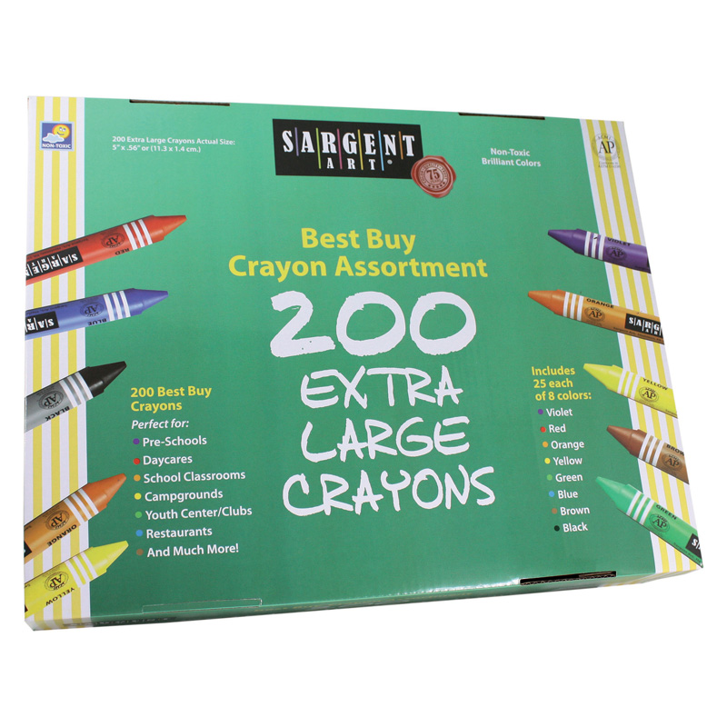 Sargent Art Best Buy Crayonassortment Jumbo Size 200 Crayons