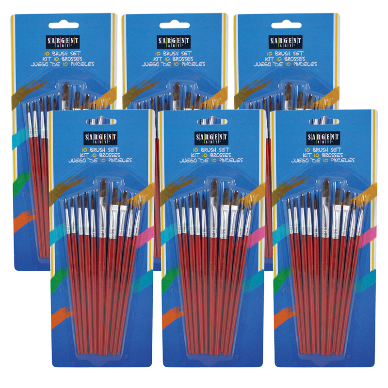 (6 Pk) All Purpose Natural Hairbrush Assortment 10 Per Pk