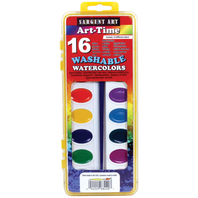 16 Art Time Semi Moist Washablecolors W/ Brush