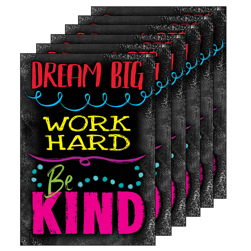 (6 Ea) Dream Big Word Hard Be Kindposter